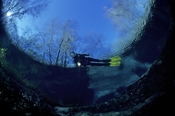 Photo: dd001179     Devil's Eye Spring and Diver , ,  High Springs, Florida, USA