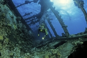 Photo: dd001246     Shipwreck Umbria and Diver , ,  Wingate Reef, Red Sea, Sudan