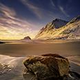 Photo: dd012009  Sunset, Haukland Beach, Lofoten, Norway