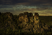Photo: dd011452      Sunset, Elbe Sandstone Mountains, Saxon Switzerland, Germany