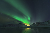 Photo: dd011203     Northern Lights , Aurora borealis,  Flakstad, Lofoten, Norway