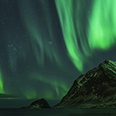 Photo: dd011303     Northern Lights , Aurora borealis,  Haukland Beach, Lofoten, Norway