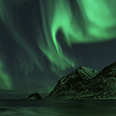 Photo: dd011304     Northern Lights , Aurora borealis,  Haukland Beach, Lofoten, Norway
