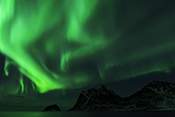 Photo: dd011307     Northern Lights , Aurora borealis,  Haukland Beach, Lofoten, Norway