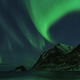 Photo: dd011308     Northern Lights , Aurora borealis,  Haukland Beach, Lofoten, Norway