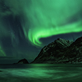 Photo: dd011310     Northern Lights , Aurora borealis,  Haukland Beach, Lofoten, Norway